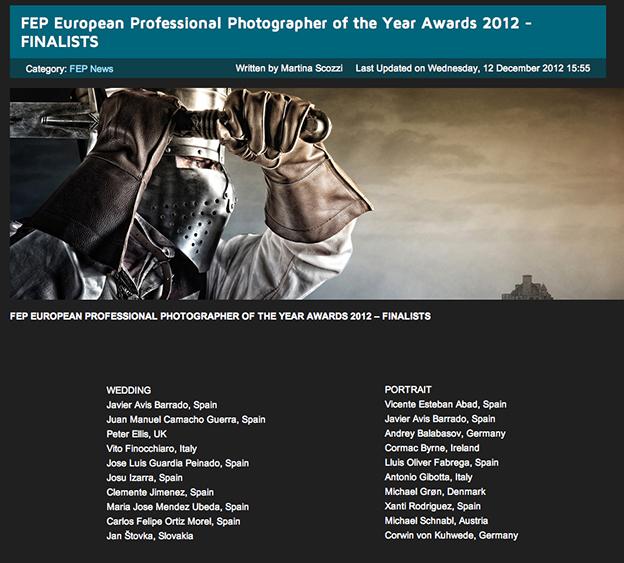 Finalista al Mejor Fotógrafo Europeo del Año de  Boda y  de Retrato  2012
